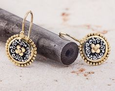 Earrings, Mixed metal jewelry, 22k Gold and Silver Earrings, Mixed Metal earrings, antique style earrings, Custom Made to Order by GefenJewelry on Etsy https://www.etsy.com/listing/230957614/earrings-mixed-metal-jewelry-22k-gold