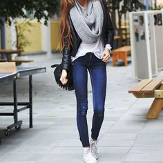Grey Knit Circle Scarf and White Converse.