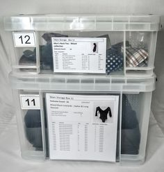 Databases, labeling, and storage solutions for costumers and costume shop managers in dance and theater. Shop Storage, Shop Organization, Storage Boxes, Storage Room, Theatre Costumes, Rent Costumes, Theatre Props, Burlesque Costumes, Costume Shop