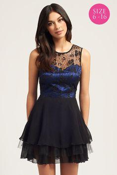 Little Mistress Cobalt & Black Lace Bodice Tutu Dress