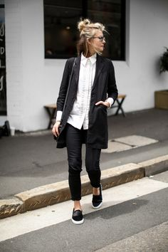 black and white style, black slip on sneakers, white button down shirt, minimal style, minimalistic style / @andwhatelse