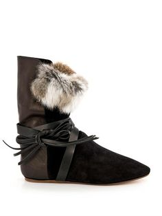 Nia suede, leather and fur boots | Isabel Marant | MATCHESFASH...