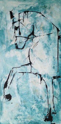 Acrylic on canvas - by equestrian artist, Liz Wiley.