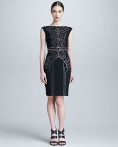 Versace Collection - Sheath Dress with Baroque Crystal Beading