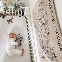 The view from up here is pretty darned cute! Our Woodland Creature mobile makes for the perfect accessory to hang above this adorable crib. Photo from @katherinekruger.