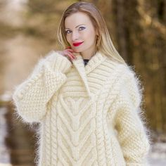 100% Hand knit shawl collar mohair pullover in ivory, size S, M, L, XL
