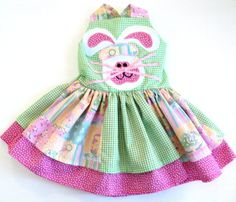 Baby Girl Easter Dress Spring Bunny Double por Janslittlehearts