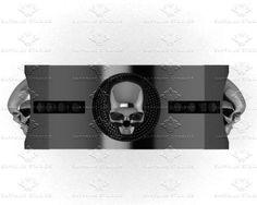 'Luna De Saturno' 0.15ct Black Sterling Silver Skull Wedding Band