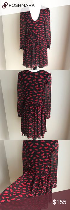 V neck silk lips dress size S NWOT! 100% soft silk. Deep V, zipper on the side. Model is 5'6, 35C, this reaches above her knees. Brand is style reference only. Karen Millen Dresses