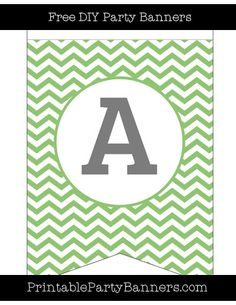 Pistachio Green and White Swallowtail Chevron Capital Letter A