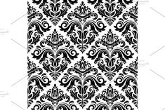 Oriental vector pattern with damask, arabesque and floral elements. Damask Patterns, Arabic Design, Arabesque, Vector Pattern, Abstract Backgrounds, Oriental, Floral, Flowers, Flower