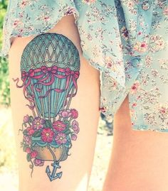 air balloon tattoo flowers 2016