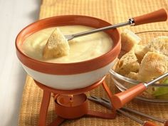 Classic fondue gets a decadent upgrade in this three-cheese version (hello, Havarti, sharp cheddar and American!).