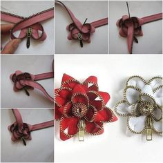 I have posted quite a few projects to make beautiful flowers, such as ribbon flowers, paper flowers and beaded flowers. Do you know that zippers can be used to make flowers too? Florals made from zippers, particularly the ones with metal teeth, have become more and more popular in fashions …