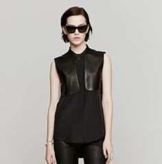 Leather Combo S/L Top