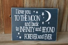 I love you to the moon and back CUTE wood board for by invinyl