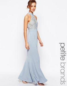 Jarlo+Petite+Caden+Lace+Detail+Halter+Neck+Maxi+Dress