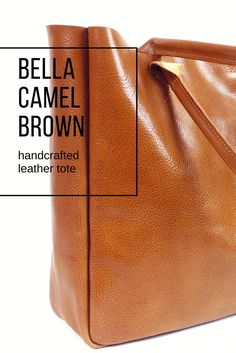 Camel Brown Leather Tote Bag #fashion #bag