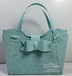 Purses, Lots of Paper Purses - I love this one! Soft Sky cardstock and Regarding Dahlias stamp set. This is from the Tres Chic Handbag tutorial. This is a gift card size purse or for 3 x 3 cards and envelopes.
