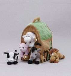 AmazonSmile: Plush Farm House with Animals- Five (5) Stuffed Farm Animals (Horse, Lamb, Cow, Pig, Grey Horse) in Play Farm House: Toys & Games