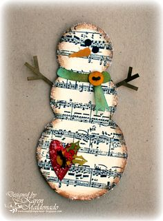 Snowman, Christmas DIY craft  could I find sheet music scrap booking paper?