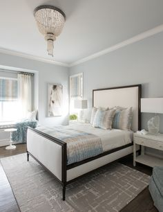 Paint color is Sherwin Williams SW 7661 Reflection. Paint color is Sherwin Williams SW 7661 Reflection. Bedroom Paint Colors, Interior, Custom Built Homes, New Homes, Home Decor, House Interior, Luxury Interior Design, Master Bedroom Paint, Interior Design