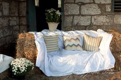 hay bale couch for the cocktail hour