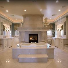 Master Bath Suite with his and her vanities and closets - mediterranean - bathroom - las vegas - Macaluso Designs, Inc. Mansion Bathrooms, Dream Bathrooms, Dream Rooms, Beautiful Bathrooms, Luxury Bathrooms, Luxury Bathtub, Master Bathrooms, Mediterranean Bathroom, Sweet Home