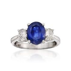 3.20 Carat Sapphire and .60 ct. t.w. Diamond 3-Stone Ring In 14kt White Gold. Size 8