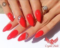 Red Stiletto Nails w/ rhinestones