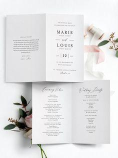 Wedding Program Thank You, Wedding Church Programs, Wedding Program Examples, Wedding Jobs, Printable Wedding Programs, Wedding Signage, Wedding Program Template Free, Wedding Ideas, Wedding Decor