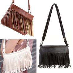 Tassel Small Ladies Cross Body Leather Handbags