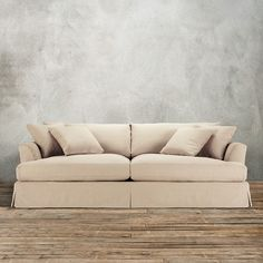 ... Elegant 94inch Slipcovered Sofa Deso Sand Color Washable Cotton Blend With Overstuffed Sofa ...