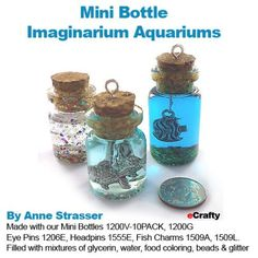 Incredibly cute and easy to make ~ DIY Mini Aquarium Charms, made with our mini glass bottles! Fill with hanging charms of choice, glycerin, water, food coloring, glitter and or small beads. Great little gifts, party favors, experiment with different themes. Happy creating from eCrafty.com