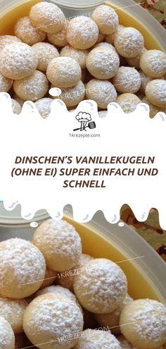 DINSCHEN'S VANILLEKUGELN (OHNE EI) SUPER EINFACH UND SCHNELL - 1k Rezepte Super Simple, Beauty Recipe, Hamburger, Cereal, Breakfast, Recipes, Food, Vanilla, Recipe