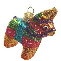 """Pinata Christmas Ornament 44025 3"""" Merck Family's Old World Christmas Colorful traditional donkey pinata. Colors include pink, green, gold, blue, purple. Ornament is very"""