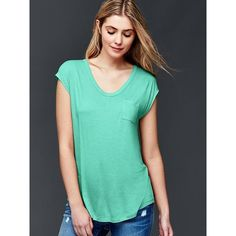 Gap Women Cap Sleeve Pocket Tee ($25) ❤ liked on Polyvore featuring tops, t-shirts, regular, southern turquoise, curved hem tee, cap sleeve t shirt, scoop-neck tees, green tee and gap t shirts