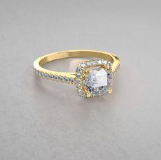 Modischer Halo Diamant Verlobungsring im Kissenschliff aus 14kt Gelbgold