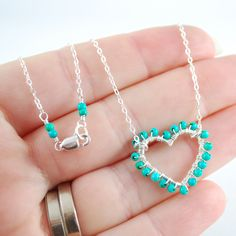 Jewelry Turquoise Genuine Gemstone Aqua Wire Wrapped Valentine's Day Heart Sterling Silver Necklace Complimentary Shipping. $62.00, via Etsy.