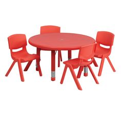 Flash Furniture - Round Adjustable Activity Table Set with 4 School Stack Chairs
