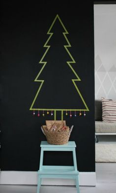 Use tape to make a tree on the wall  Great for small apartments and dorms!