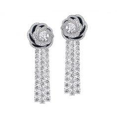 De Beers Aria High Jewellery Unique Earrings of diamonds and dark blue aventurine (=)