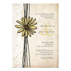 Invitación amarilla del boda de la margarita del v