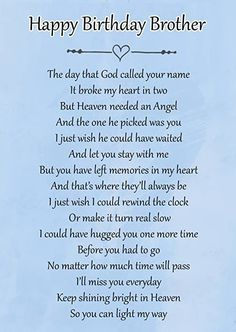Birthday Poems For Dad, Birthday Wishes In Heaven, Happy Heavenly Birthday, Happy Birthday Uncle, Dad Birthday, Happy Birthday Brother Quotes, Girlfriend Birthday, Birthday Cards, Birthday Gifts