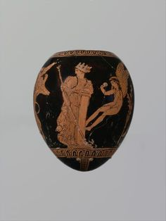 Terracotta oon (egg) with a youth abducting a woman Attributed to the Washing Painter Period: Classical Date: ca. 420–410 B.C. Culture: Greek, Attic