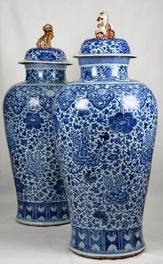 Exceptionelle paire de vases, Chine, période Kangxi