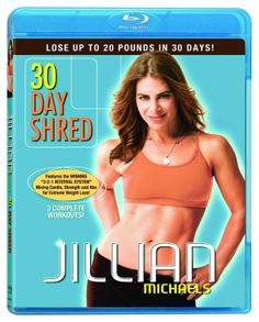 Jillian Michaels: 30 Day Shred (2011) ($14.02) http://www.amazon.com/exec/obidos/ASIN/B004CJB0CM/hpb2-20/ASIN/B004CJB0CM You're done before you know it--but by the end you've gotten a kick butt workout and feel like you've really done something. - I switch back and forth between levels 1 & 2 and feel like that's worked much better for me compared to doing just one level at a time. - I think this DVD will be a great supplement for days that I'm not able to go to the gym.