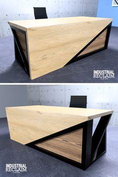 Modern Asymmetric Executive Waterfall Desk - Steel & Oak - Yakisugi Accents
