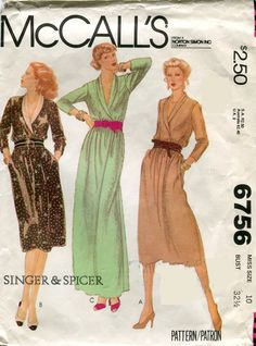 1970s McCalls 6756 Misses Shawl Collar Dress Vintage Sewing Pattern Singer & Spicer Size 10 Bust 32.5 by PengyPatterns on Etsy