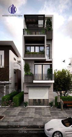 Architectural design is a concept that focuses on components or elements of a structure. An architect is generally the one in charge of the architectural design haus 86 Architectural Design Pictures for Residential Buildings Bungalow House Design, House Front Design, Small House Design, Modern House Design, Facade Design, Exterior Design, Architecture Design, Narrow House Designs, Residential Building Design